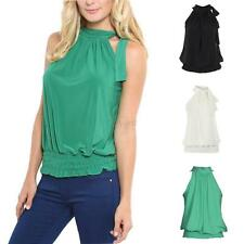 Women Summer Sleeveless Halter Blouse Club Shirt Tank Top Vest T-shirt Plus Size