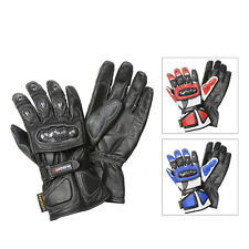 """Carrera"" Mens Leather Motorcycle Gloves"