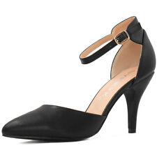 Woman Pointed Toe Stiletto Heel Ankle Strap Pumps