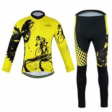 Men's Winter Cycling Kit Yellow Long Sleeve Bike Jersey Cycling Long Pants Set