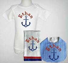 Embroidered Personalized Baby Blue Striped Nautical One Piece Bib and Burp Cloth