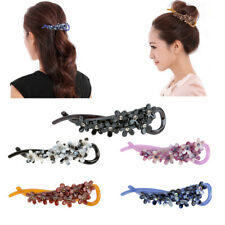 Women's Plastic Rhinestone Flower Banana Hair Clip Barrette Hair Accessories