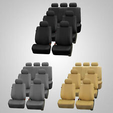 3 Row Faux Leather Car Seat Covers Airbag Safety For Minivan SUV