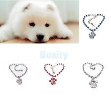 Fashion Dog Necklace Collar with Crystal Pet Paw Print Pendant Charm Jewelry