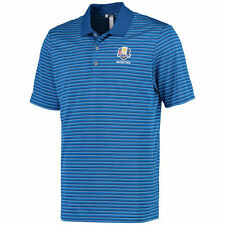2016 Ryder Cup adidas Performance 3-Color Stripe Polo - Blue/Blue - Golf