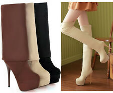 Women High Heel Lady Stiletto Over Knee Pull on Faux Suede Boots Shoes Plus Size