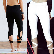 Women Sports Gym Yoga Workout Cropped Leggings Fitness Lounge Athletic Pants Hot