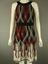 UNTOLD BLACK, IVORY & RED SLEEVELESS KNEE LENGTH BEAD TRIMMED DRESS SIZE 8,14,16