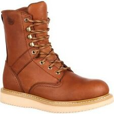 """Mens Georgia 8"""" Wedge Heel Steel Toe Leather Safety Work Boot Size 7-13 G8342"""