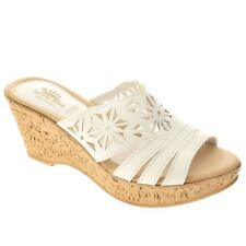 Spring Step DORA Womens White Leather Comfort Fashion Platform Slides Sandals