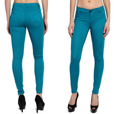 TheMogan Colored Ankle Stretch Skinny Jeans Pencil Pants in Teal