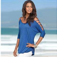 Chic Women's Off Shoulder Loose 3/4 Sleeve T Shirt Round Neck Top Blouse LJ