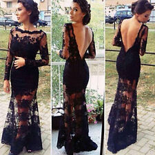 Women Sexy Lace Backless Black Long Sleeve Party Evening Formal Prom Maxi Dress