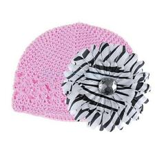 Trendy New Lovely Baby Kids Crochet Handmade Beanie Cap Hat w/Flower Clip