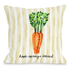 One Bella Casa Hope Springs Eternal Carrot Stripe Throw Pillow