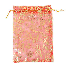 250pcs Retail New Rose Flower Pattern Organza Gifts Bags Fit Favours Packaging L