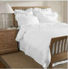 New! 3-PC Edge Ruffle Duvet Cover Set 800-TC Cotton Solid White King.Queen.Twin