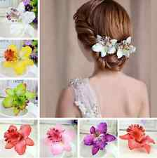 Womens Bridal Wedding Orchid Flower Leopard Hair Clip Barrette Hair Dress Hot