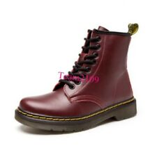 Womens Fashion Leather Lace Up Combat Military Ankle Boots Lace Up Shoes