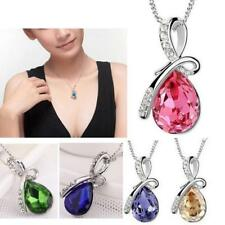Women Crystal Rhinestones Silver Chain Pendant Necklace Jewelry Free Shipping
