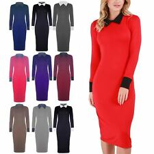 Womens Plus Size Maxi Dress Ladies Contrast Collared Stretchy Ankle Length Long