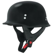Skid Lid KS750 Half Motorcycle Street Helmet German WWII Style DOT - Flat Black