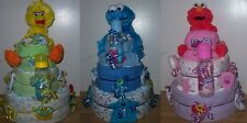 Baby Shower 3 Tier Sesame Street Diaper Cake, Elmo, Big Bird, Cookie Monster