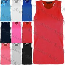 Kids Girls Childrens T Shirt Racer Muscle Front Back Ribbed Cotton Soft Vest Top