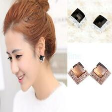 Women Ladies Fashion Retro Square Shape Crystal Rhinestone Earrings Ear Studs