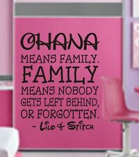 OHANA MEANS FAMILY LILO AND STITCH DISNEY Quote Vinyl Wall Decal Decor Sticker