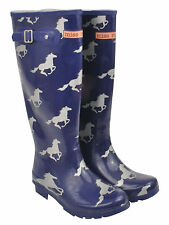 NEW Silver Horse Emblem on Blue Ladies Rubber Gumboots Size 6 7 8 9 10 Wellies