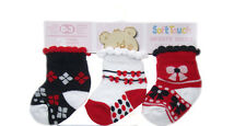 3 PAIRS BABY GIRLS SOCKS 0-3/3-6/6-12 MTHS RED/NAVY/WHITE #2 COTTON RICH