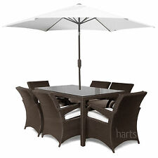Outdoor PE Rattan Garden Patio 6 Seat Dining set furniture Large table & chairs