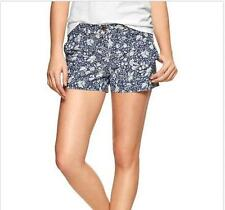 "NWT GAP Floral  3.5"" Chambray Cotton Shorts $49.50 Size 14 Denim Blue"