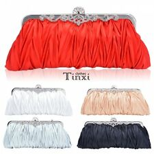 Women Satin Clutch Party Wedding Purse Evening Bag Pleated  Bridal Handbag TXCL