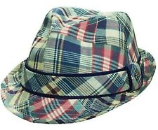 NEW w/tags TOMMY BAHAMA Natural Trilby Madras Fedora Patchwork Hat Cotton Mens