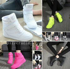 2016 New Ladies Fashion Shoes HighTop Lace Up Wedge Sneaker Ankle Casual Shoes