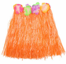 SHORT ORANGE GRASS HULA SKIRT 40CM WITH FLOWERS HAWAIIAN LUAU PARTY FANCY DRESS