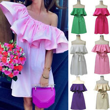 Sexy Off Shoulder Casual Womens Boho Summer Cocktail Mini Holiday Beach Dress UK