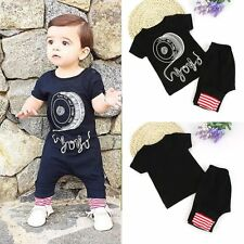2pcs Newborn Toddler Infant Baby Boys Clothes T-shirt Tops+Long Pants Outfit Set