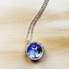 Forget me not Encapsulated Dried Flower Glass Orb Charm Necklace Kitsch