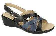 Eaze F3112 Ladies Black/Navy Touch fastener Fastened Synthetic Comfort Sandals