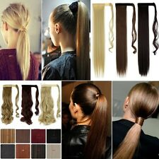 Extra Thick Ponytail Clip In Pony Tail Hair Extensions AU Human Made Style JD1