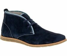 Hush Puppies 'Roland Jester' Men's Navy Lace Up Leather Suede Desert Boots