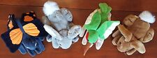 Plush Creations Hand Puppets - Brown Bunny, Grey Bunny, Hummingbird, Butterfly