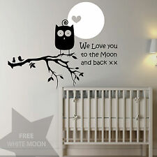 WE LOVE YOU TO THE MOON, OWL - Vinyl Wall Art Nursey Sticker, Decal