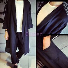 2016 HOT Mens Spring Summer Cardigan Long Trench Coats Jacket Thin Black Outwear