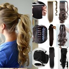 UK Real Fancy Curly Wavy Straight Clip In Hair Extensions Claw On Ponytail f52
