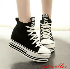 korean high top canvas shoes creeper platform womens lace up sneakers shoes size