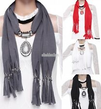 Soft Tassel Beads Water Drop Pendant Necklace Bohemian Wrap Shawl Scarf EFFU